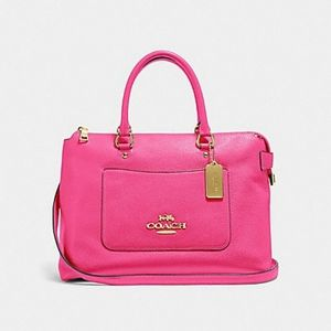 NWT Coach Emma Pebble Leather Satchel in Pink Ruby